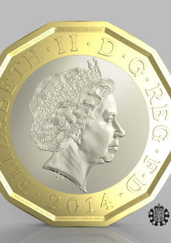 "Undated handout photo issued by HM Treasury of the side of a new one pound coin announced by the Government, which will be the most secure coin in circulation in the world, the new coin will have the same shape as the 12-sided pre-decimal three pence piece or ""Threepenny bit""."